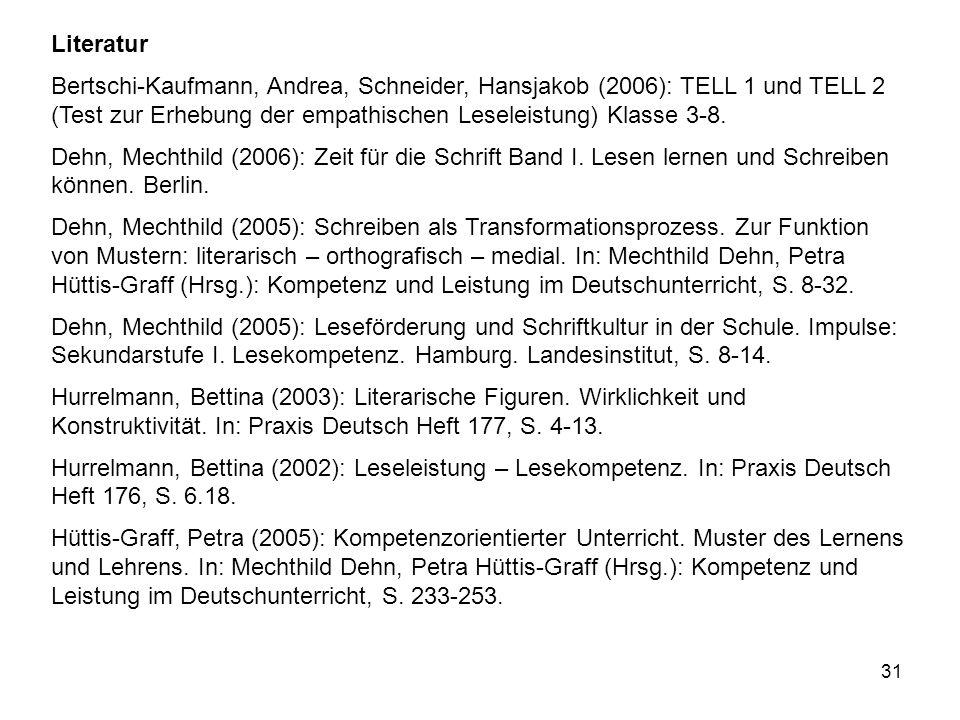 31 Literatur Bertschi-Kaufmann, Andrea, Schneider, Hansjakob (2006): TELL 1 und TELL 2 (Test zur Erhebung der empathischen Leseleistung) Klasse 3-8.