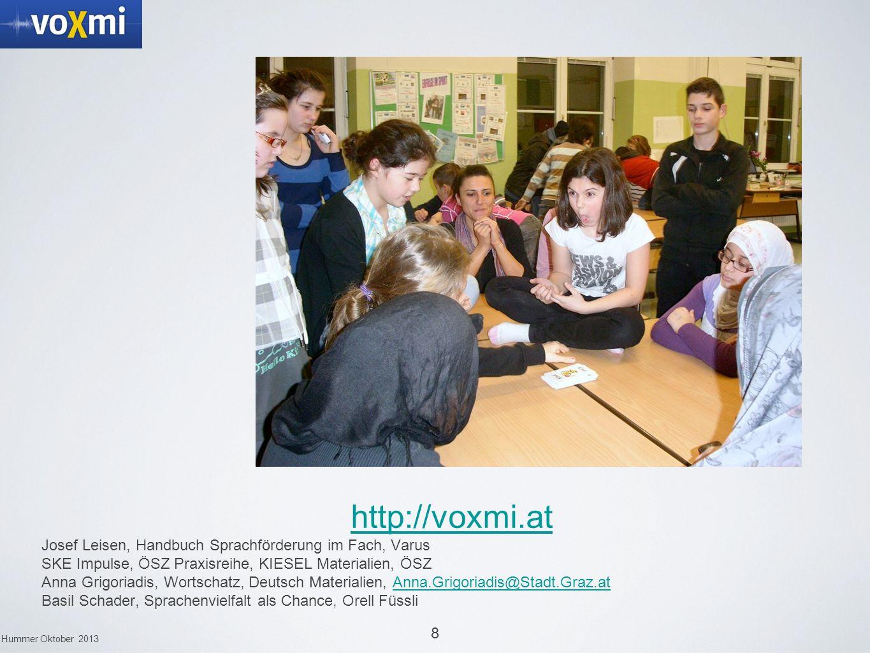 8 Hummer Oktober 2013 http://voxmi.at Josef Leisen, Handbuch Sprachförderung im Fach, Varus SKE Impulse, ÖSZ Praxisreihe, KIESEL Materialien, ÖSZ Anna