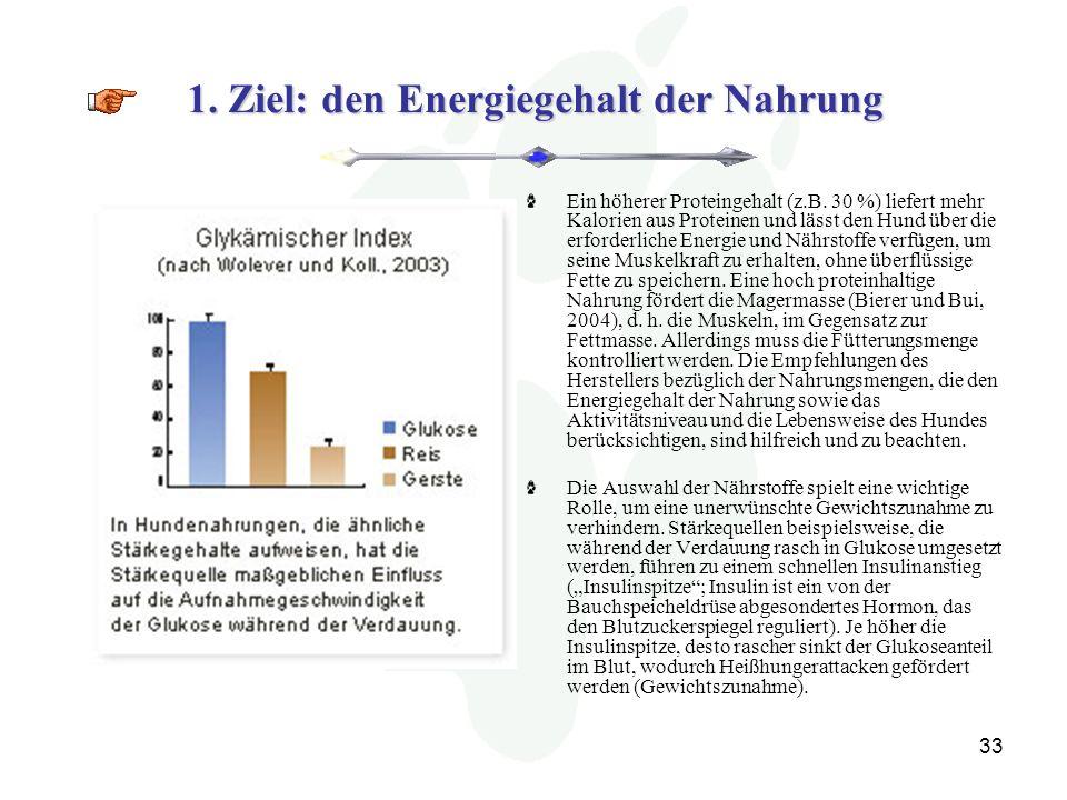 33 1.Ziel: den Energiegehalt der Nahrung Ein höherer Proteingehalt (z.B.