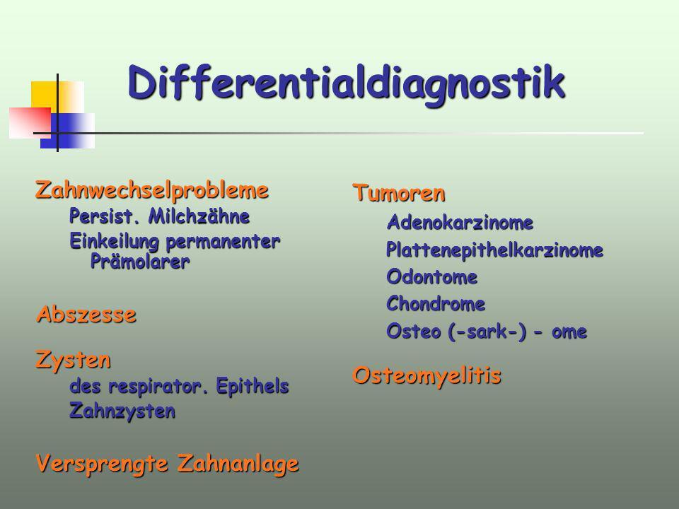 Differentialdiagnostik Zahnwechselprobleme Persist. Milchzähne Einkeilung permanenter Prämolarer AbszesseZysten des respirator. Epithels Zahnzysten Ve