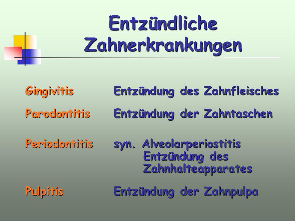 Entzündliche Zahnerkrankungen GingivitisEntzündung des Zahnfleisches Parodontitis Entzündung der Zahntaschen Periodontitissyn. Alveolarperiostitis Ent