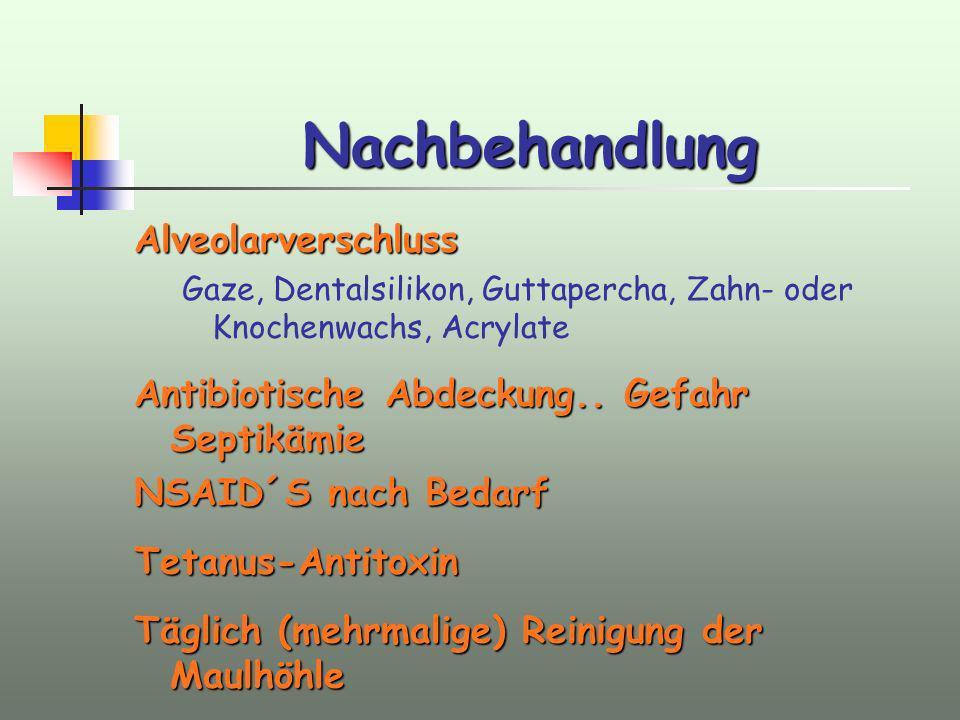 Nachbehandlung Alveolarverschluss Gaze, Dentalsilikon, Guttapercha, Zahn- oder Knochenwachs, Acrylate Antibiotische Abdeckung.. Gefahr Septikämie NSAI