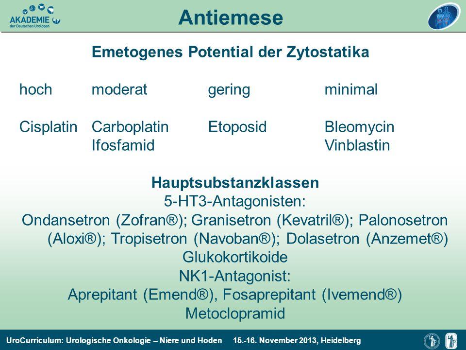 UroCurriculum: Urologische Onkologie – Niere und Hoden 15.-16. November 2013, Heidelberg Antiemese Emetogenes Potential der Zytostatika hochmoderatger