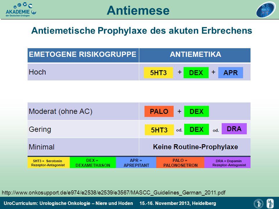 UroCurriculum: Urologische Onkologie – Niere und Hoden 15.-16. November 2013, Heidelberg Antiemese Antiemetische Prophylaxe des akuten Erbrechens http