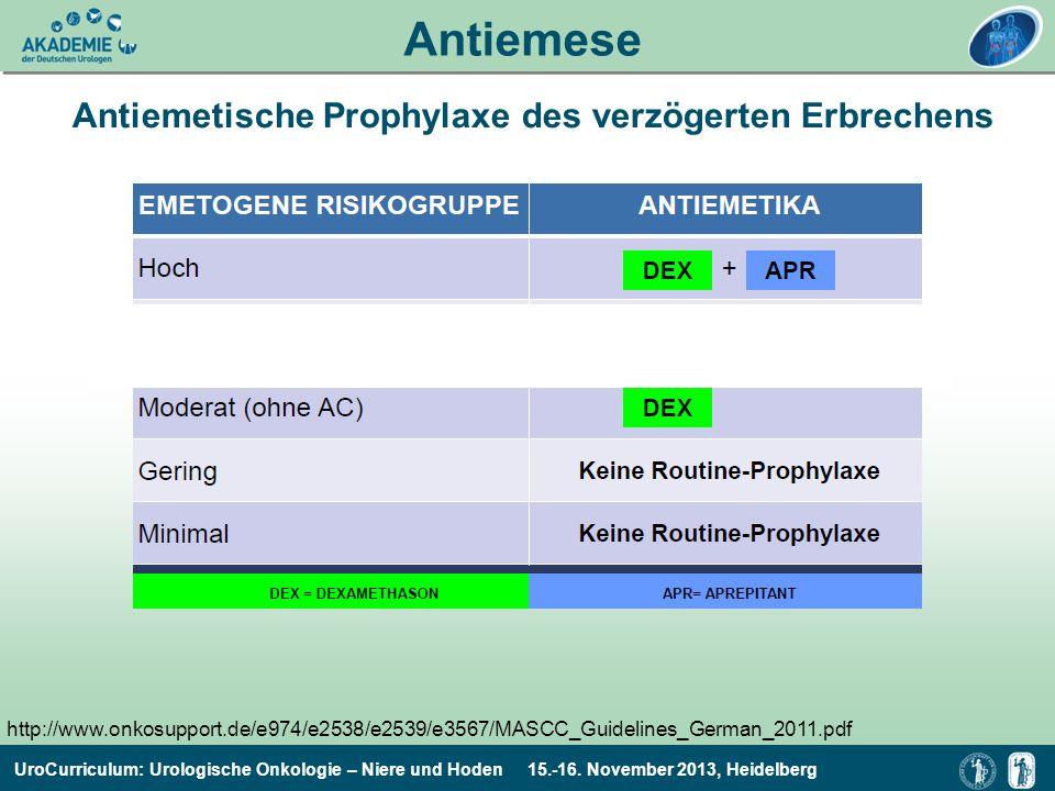 UroCurriculum: Urologische Onkologie – Niere und Hoden 15.-16. November 2013, Heidelberg Antiemese Antiemetische Prophylaxe des verzögerten Erbrechens