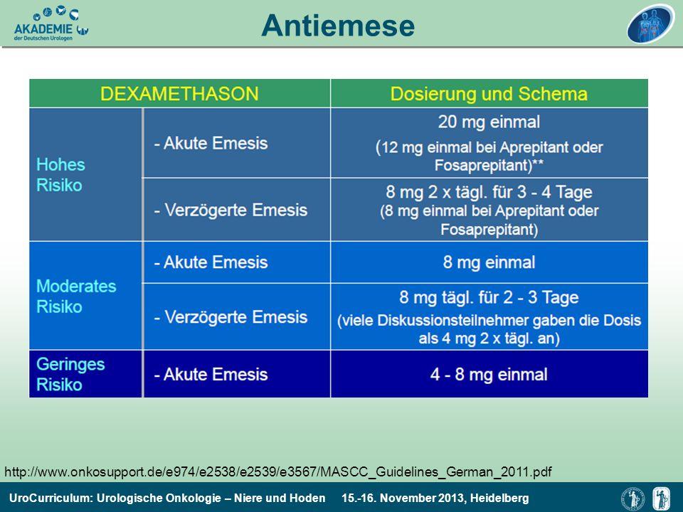 UroCurriculum: Urologische Onkologie – Niere und Hoden 15.-16. November 2013, Heidelberg Antiemese http://www.onkosupport.de/e974/e2538/e2539/e3567/MA
