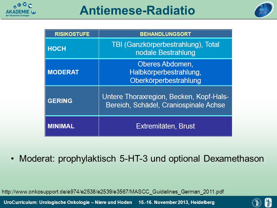 UroCurriculum: Urologische Onkologie – Niere und Hoden 15.-16. November 2013, Heidelberg Antiemese-Radiatio http://www.onkosupport.de/e974/e2538/e2539