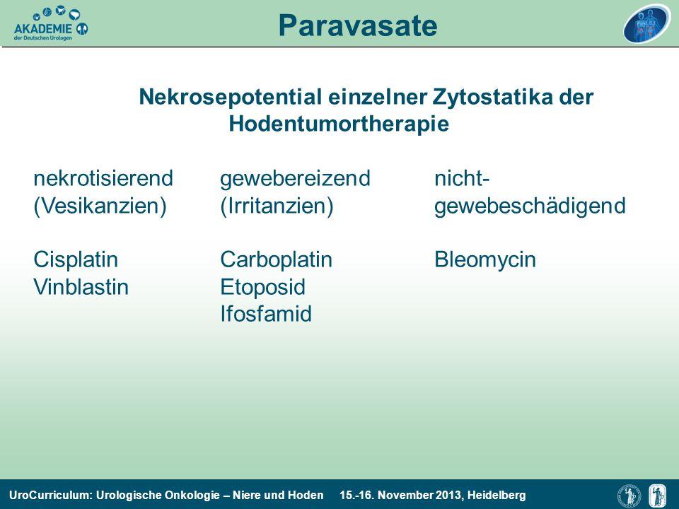 UroCurriculum: Urologische Onkologie – Niere und Hoden 15.-16. November 2013, Heidelberg Paravasate Nekrosepotential einzelner Zytostatika der Hodentu