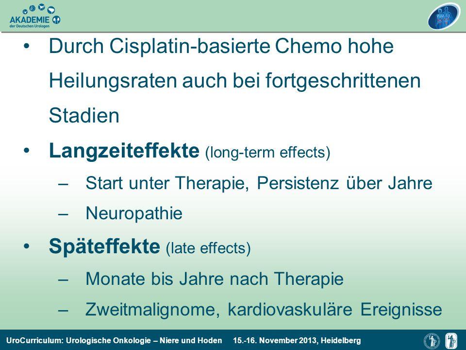 UroCurriculum: Urologische Onkologie – Niere und Hoden 15.-16. November 2013, Heidelberg Durch Cisplatin-basierte Chemo hohe Heilungsraten auch bei fo