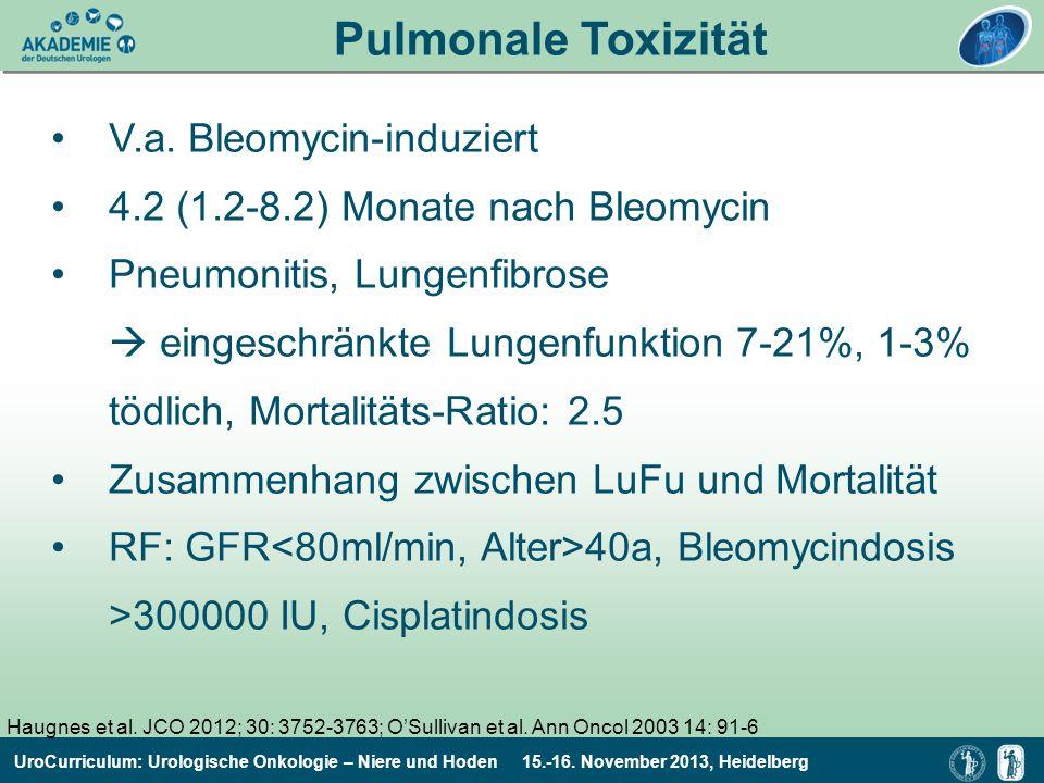UroCurriculum: Urologische Onkologie – Niere und Hoden 15.-16. November 2013, Heidelberg V.a. Bleomycin-induziert 4.2 (1.2-8.2) Monate nach Bleomycin