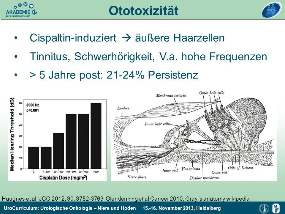 UroCurriculum: Urologische Onkologie – Niere und Hoden 15.-16. November 2013, Heidelberg Cispaltin-induziert äußere Haarzellen Tinnitus, Schwerhörigke