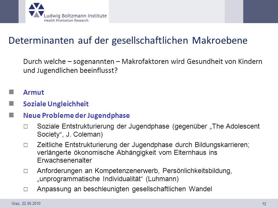 Graz, 22.06.2010 12 Determinanten auf der gesellschaftlichen Makroebene Durch welche – sogenannten – Makrofaktoren wird Gesundheit von Kindern und Jug