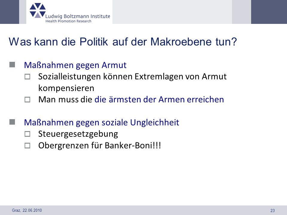 Graz, 22.06.2010 23 Was kann die Politik auf der Makroebene tun? Maßnahmen gegen Armut Sozialleistungen können Extremlagen von Armut kompensieren Man