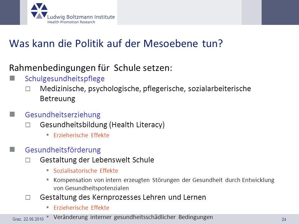 Graz, 22.06.2010 24 Was kann die Politik auf der Mesoebene tun? Rahmenbedingungen für Schule setzen: Schulgesundheitspflege Medizinische, psychologisc