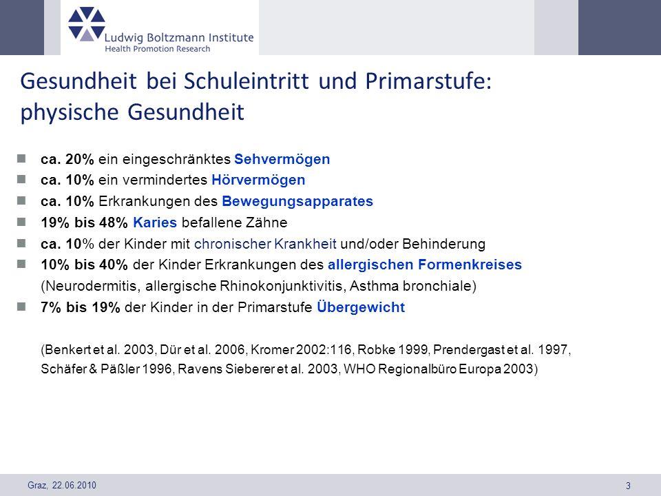 Graz, 22.06.2010 3 Gesundheit bei Schuleintritt und Primarstufe: physische Gesundheit ca. 20% ein eingeschränktes Sehvermögen ca. 10% ein vermindertes