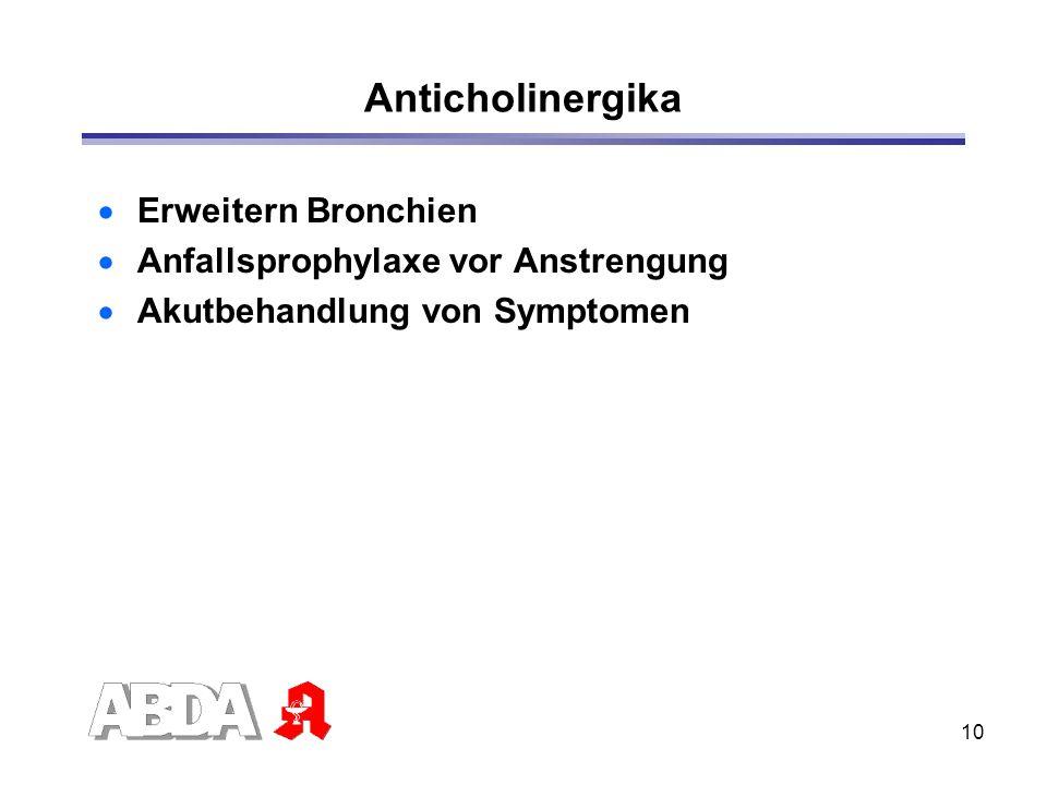 10 Anticholinergika Erweitern Bronchien Anfallsprophylaxe vor Anstrengung Akutbehandlung von Symptomen