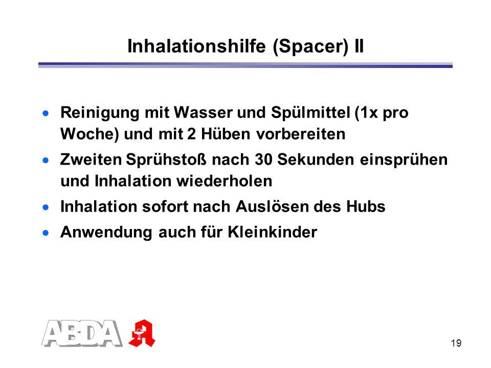 19 Inhalationshilfe (Spacer) II Reinigung mit Wasser und Spülmittel (1x pro Woche) und mit 2 Hüben vorbereiten Zweiten Sprühstoß nach 30 Sekunden eins