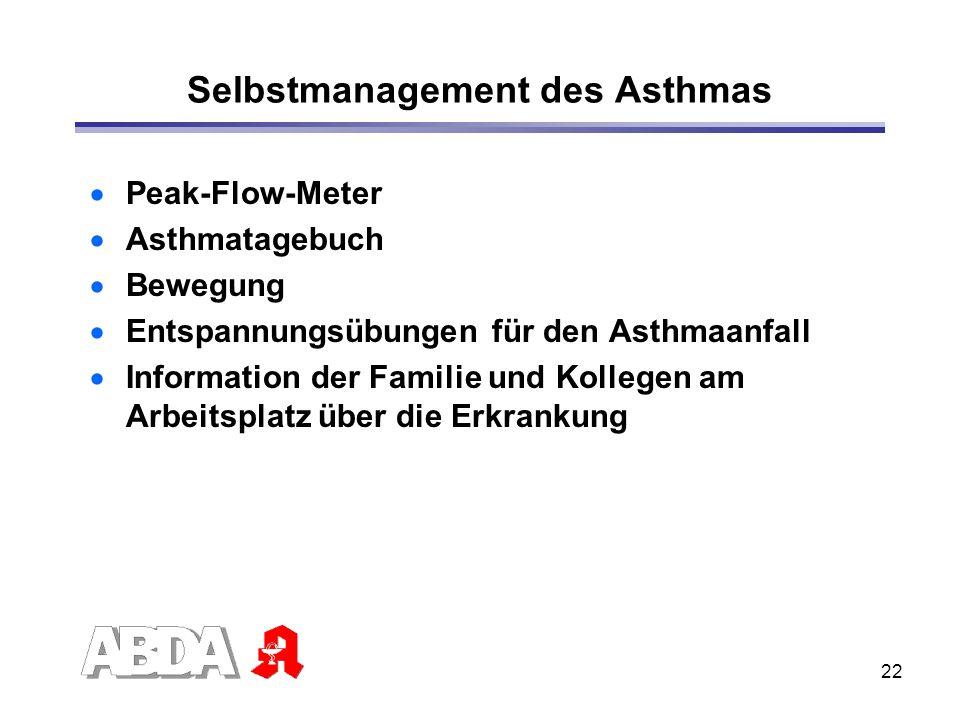 22 Selbstmanagement des Asthmas Peak-Flow-Meter Asthmatagebuch Bewegung Entspannungsübungen für den Asthmaanfall Information der Familie und Kollegen