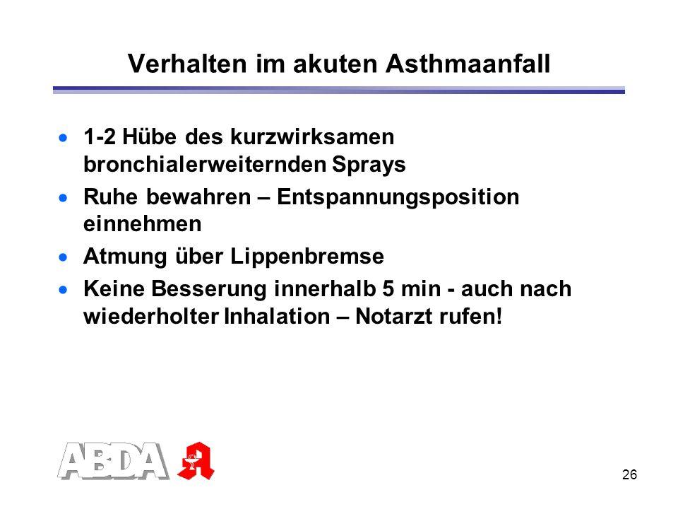 26 Verhalten im akuten Asthmaanfall 1-2 Hübe des kurzwirksamen bronchialerweiternden Sprays Ruhe bewahren – Entspannungsposition einnehmen Atmung über