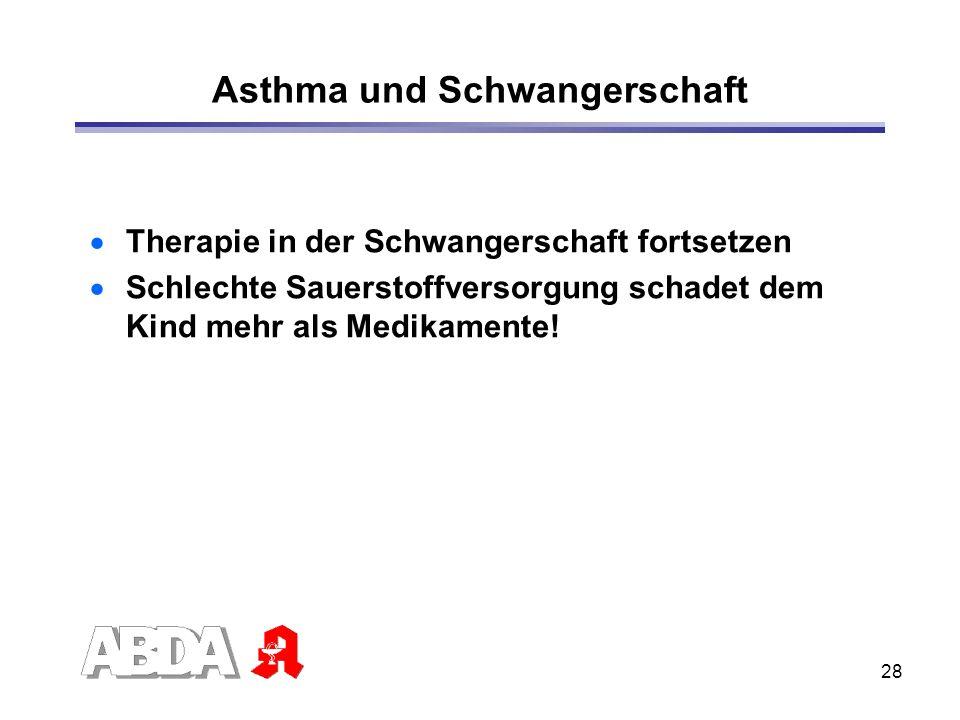 28 Asthma und Schwangerschaft Therapie in der Schwangerschaft fortsetzen Schlechte Sauerstoffversorgung schadet dem Kind mehr als Medikamente!