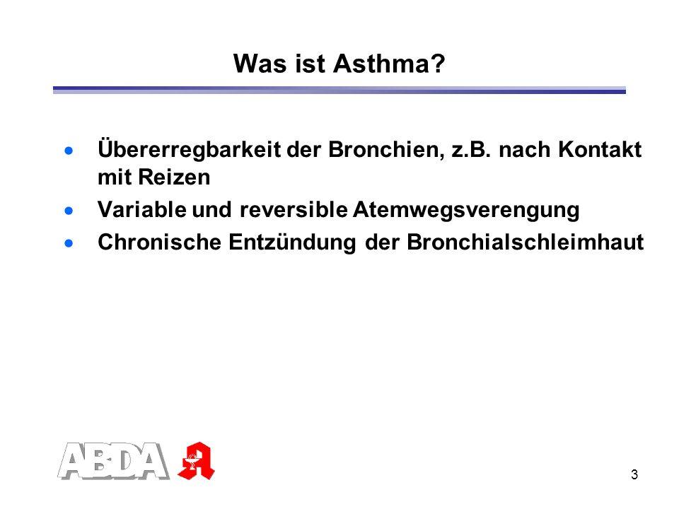 3 Was ist Asthma? Übererregbarkeit der Bronchien, z.B. nach Kontakt mit Reizen Variable und reversible Atemwegsverengung Chronische Entzündung der Bro
