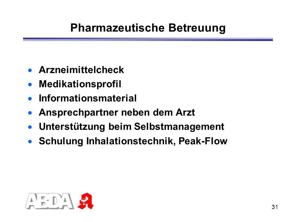 31 Pharmazeutische Betreuung Arzneimittelcheck Medikationsprofil Informationsmaterial Ansprechpartner neben dem Arzt Unterstützung beim Selbstmanageme