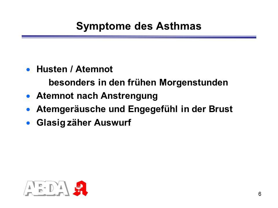 6 Symptome des Asthmas Husten / Atemnot besonders in den frühen Morgenstunden Atemnot nach Anstrengung Atemgeräusche und Engegefühl in der Brust Glasi