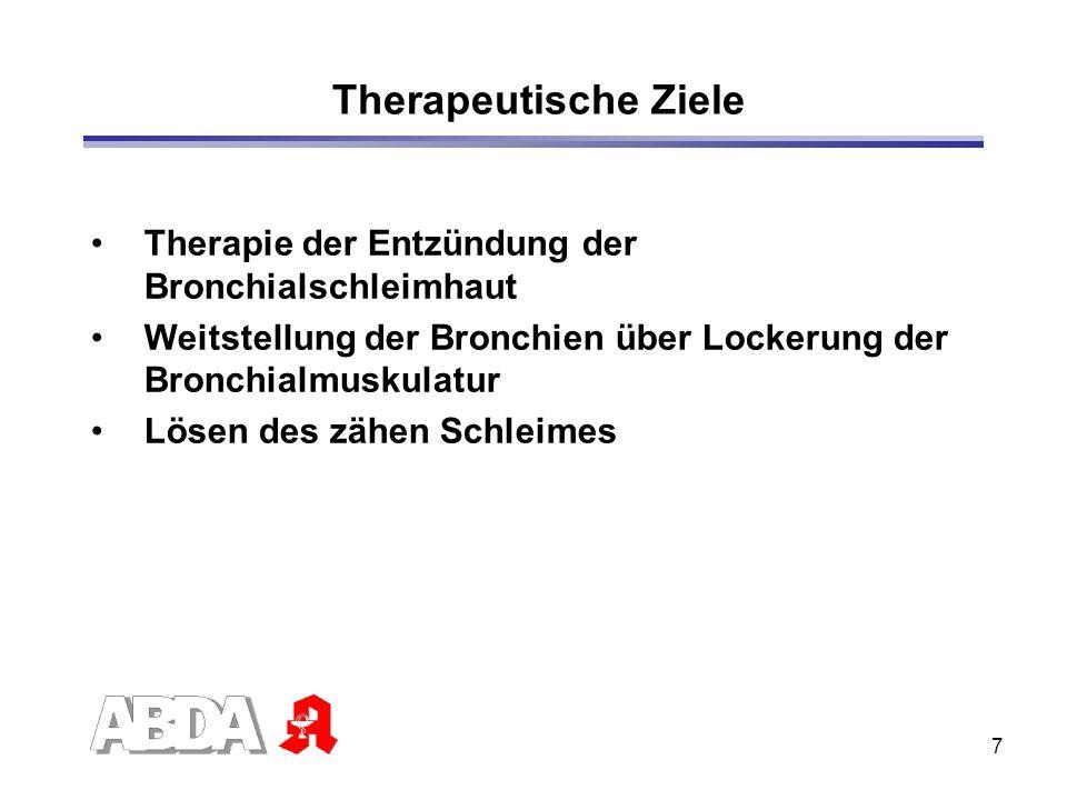 7 Therapie der Entzündung der Bronchialschleimhaut Weitstellung der Bronchien über Lockerung der Bronchialmuskulatur Lösen des zähen Schleimes Therape