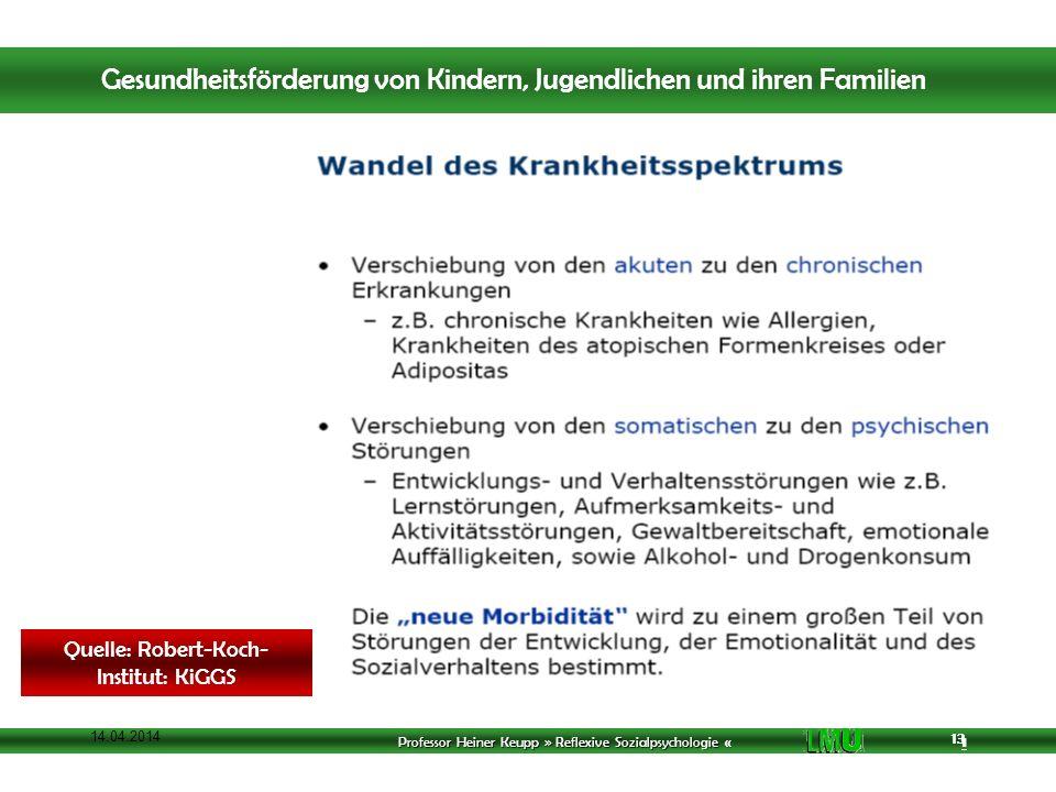 Professor Heiner Keupp » Reflexive Sozialpsychologie « 1 13 14.04.2014 13 Quelle: Robert-Koch- Institut: KiGGS Gesundheitsförderung von Kindern, Jugendlichen und ihren Familien