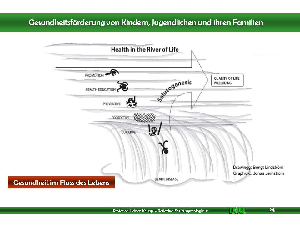 Professor Heiner Keupp » Reflexive Sozialpsychologie « 1 26 Gesundheit im Fluss des Lebens Gesundheitsförderung von Kindern, Jugendlichen und ihren Familien