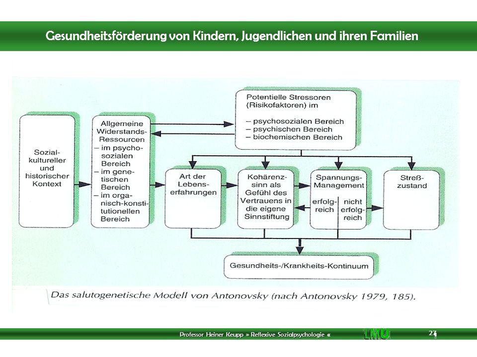 Professor Heiner Keupp » Reflexive Sozialpsychologie « 1 27 Gesundheitsförderung von Kindern, Jugendlichen und ihren Familien