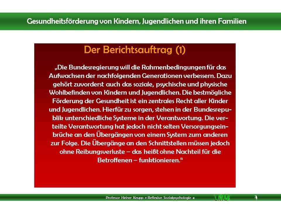 Professor Heiner Keupp » Reflexive Sozialpsychologie « 1 3 3 3 Der Berichtsauftrag (1) Die Bundesregierung will die Rahmenbedingungen für das Aufwachsen der nachfolgenden Generationen verbessern.