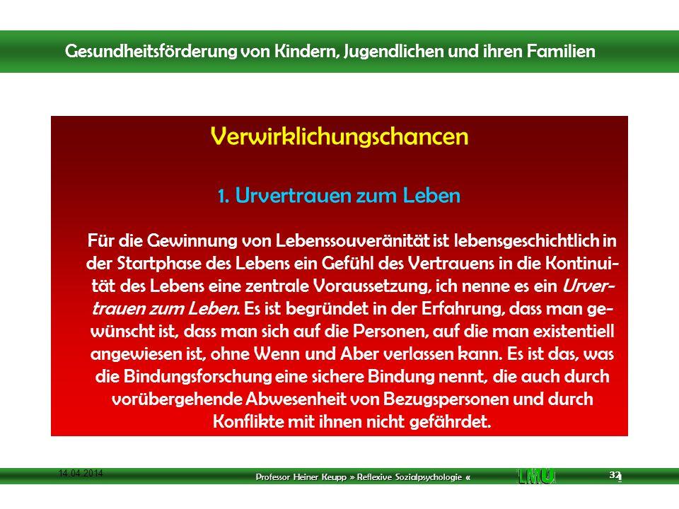 Professor Heiner Keupp » Reflexive Sozialpsychologie « 1 32 14.04.2014 32 Verwirklichungschancen 1.