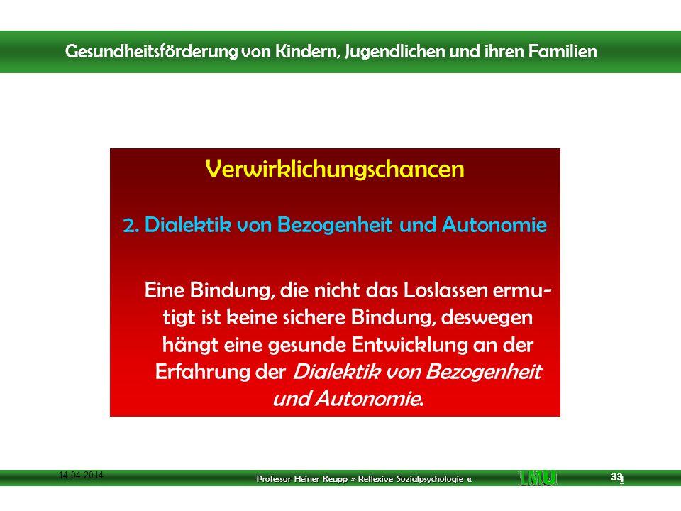 Professor Heiner Keupp » Reflexive Sozialpsychologie « 1 33 14.04.2014 33 Verwirklichungschancen 2.
