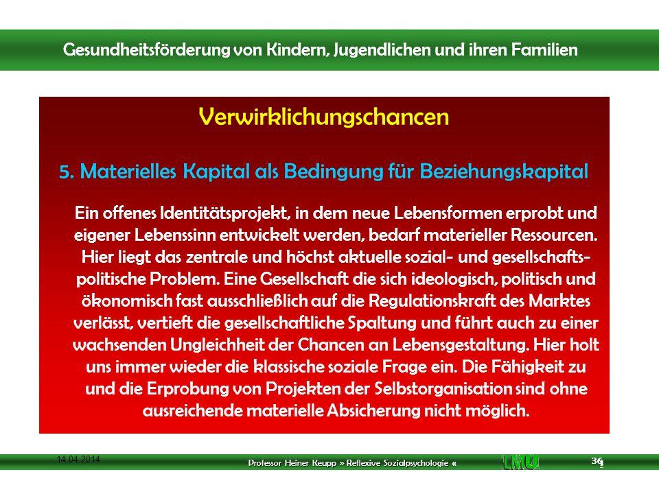 Professor Heiner Keupp » Reflexive Sozialpsychologie « 1 36 14.04.2014 36 Verwirklichungschancen 5.