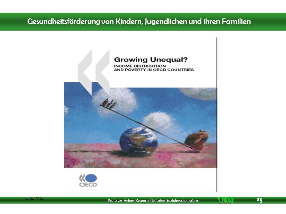 Professor Heiner Keupp » Reflexive Sozialpsychologie « 1 37 14.04.2014 37 Gesundheitsförderung von Kindern, Jugendlichen und ihren Familien
