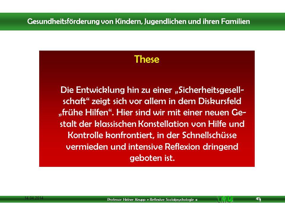 Professor Heiner Keupp » Reflexive Sozialpsychologie « 1 45 14.04.2014 45 These Die Entwicklung hin zu einer Sicherheitsgesell- schaft zeigt sich vor allem in dem Diskursfeld frühe Hilfen.