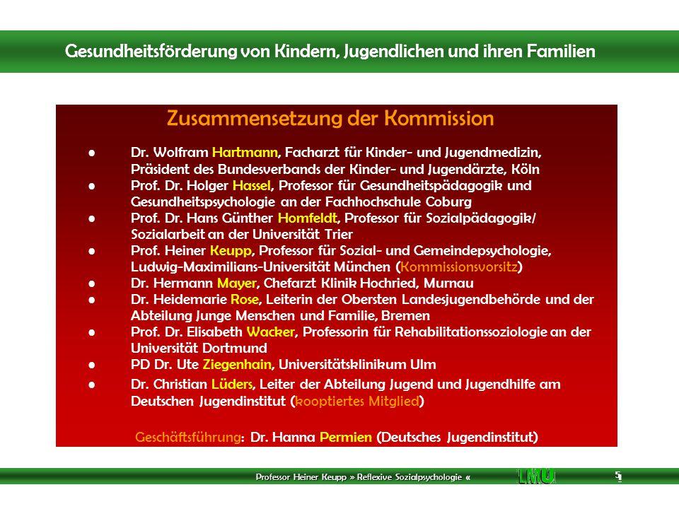 Professor Heiner Keupp » Reflexive Sozialpsychologie « 1 5 5 5 Zusammensetzung der Kommission Dr.