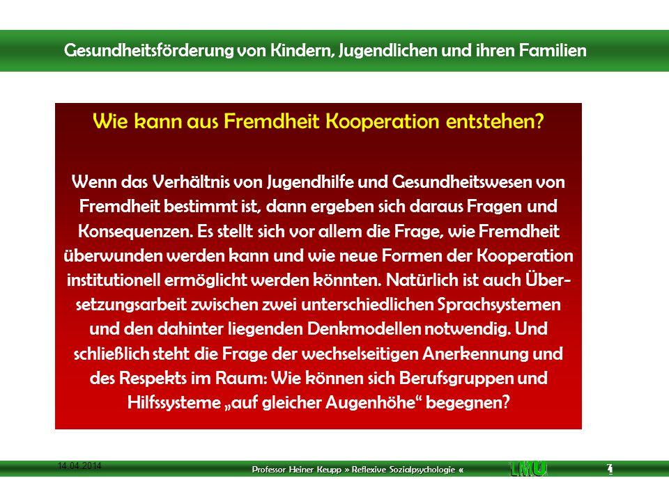Professor Heiner Keupp » Reflexive Sozialpsychologie « 1 7 14.04.2014 7 Wie kann aus Fremdheit Kooperation entstehen.