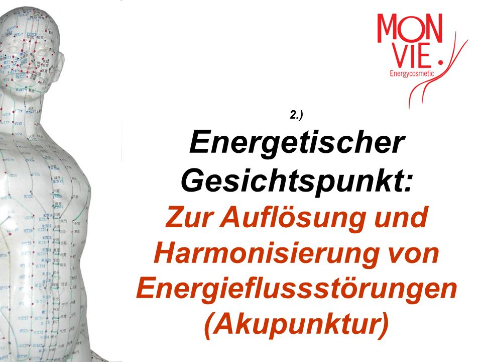 2.) Energetischer Gesichtspunkt: Zur Auflösung und Harmonisierung von Energieflussstörungen (Akupunktur)