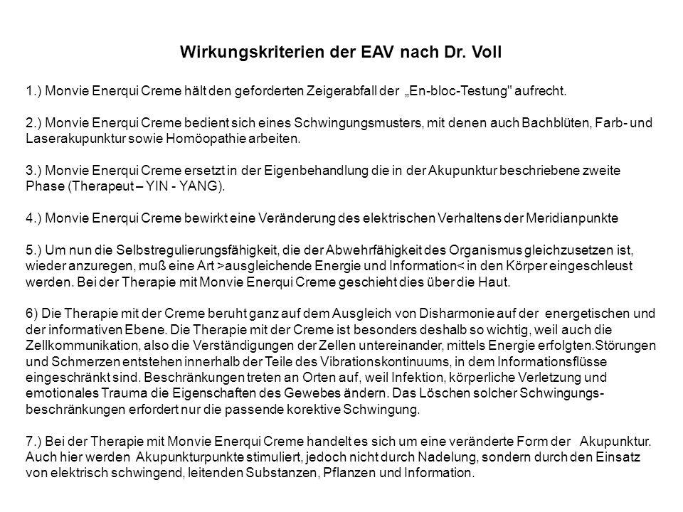 Wirkungskriterien der EAV nach Dr.