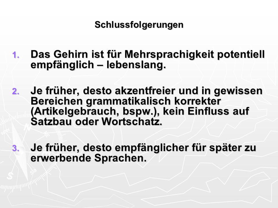 Schlussfolgerungen 1. Das Gehirn ist für Mehrsprachigkeit potentiell empfänglich – lebenslang. 2. Je früher, desto akzentfreier und in gewissen Bereic