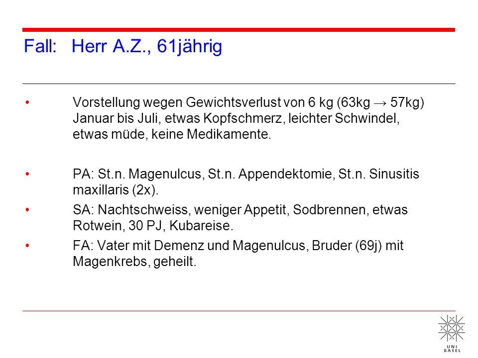 An was leidet Herr A.Z.? Diagnose: Grossefässvaskulitis PET