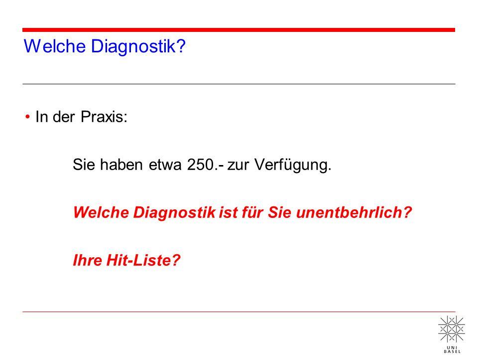 Welche Diagnostik? In der Praxis: Sie haben etwa 250.- zur Verfügung. Welche Diagnostik ist für Sie unentbehrlich? Ihre Hit-Liste?