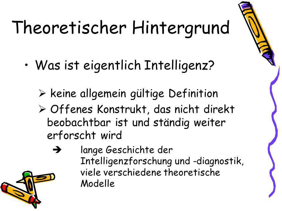 Theoretischer Hintergrund Was ist eigentlich Intelligenz.