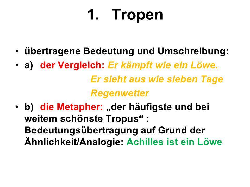 1.Tropen übertragene Bedeutung und Umschreibung: a)der Vergleich: Er kämpft wie ein Löwe. Er sieht aus wie sieben Tage Regenwetter b)die Metapher: der