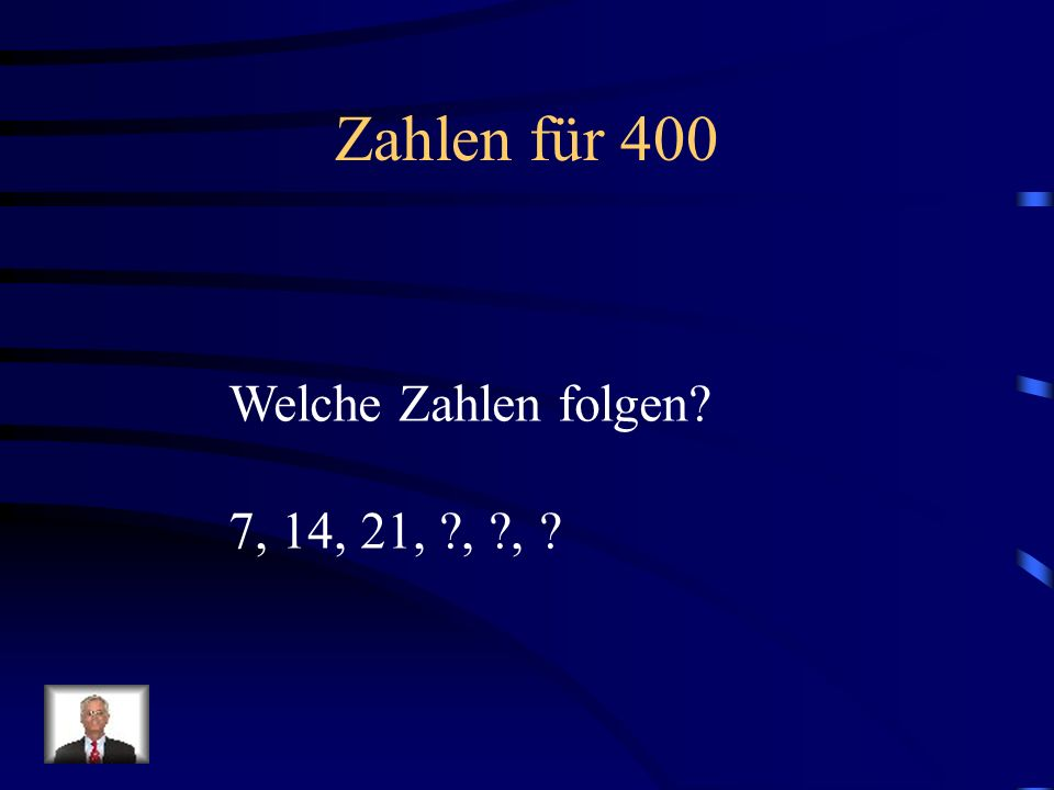Zahlen für 300 Nenne alle Zahlen von 4 bis 40 und zu jeder Zahl addiere +4