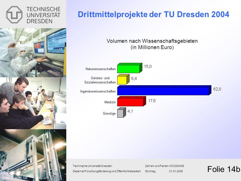 Drittmittelprojekte der TU Dresden 2004 Technische Universität Dresden,Zahlen und FaktenWS 2004/05 Dezernat Forschungsförderung und Öffentlichkeitsarb