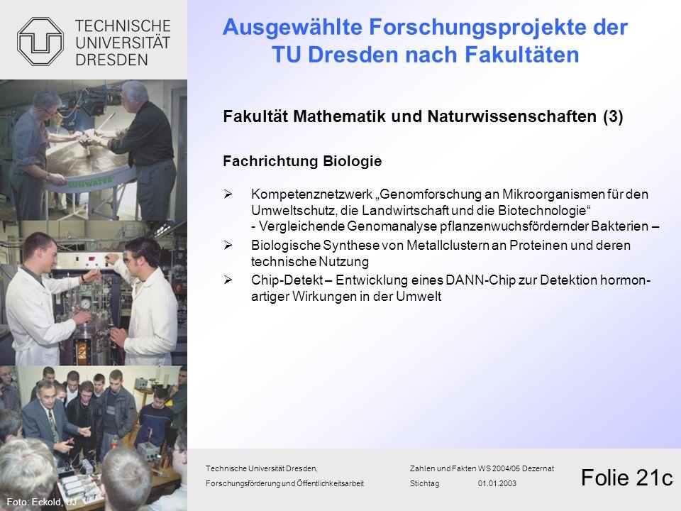 Ausgewählte Forschungsprojekte der TU Dresden nach Fakultäten Fakultät Mathematik und Naturwissenschaften (3) Fachrichtung Biologie Kompetenznetzwerk