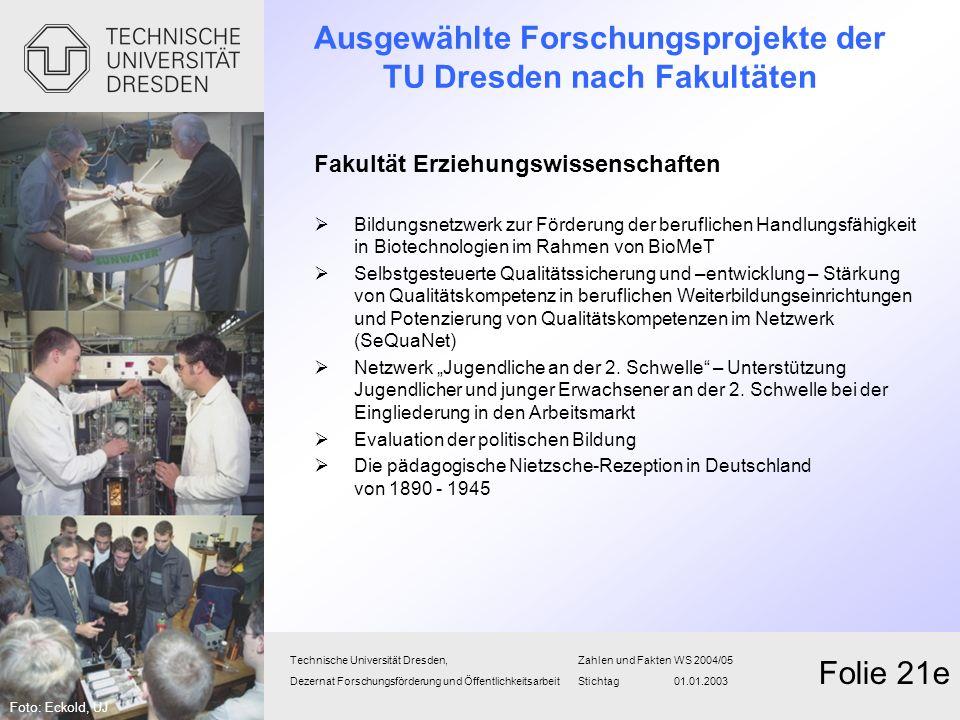 Technische Universität Dresden,Zahlen und FaktenWS 2004/05 Dezernat Forschungsförderung und Öffentlichkeitsarbeit Stichtag 01.01.2003 Folie 21e Fakult